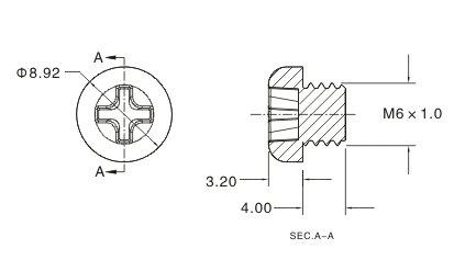 公制圆头十字螺丝 m6×4.